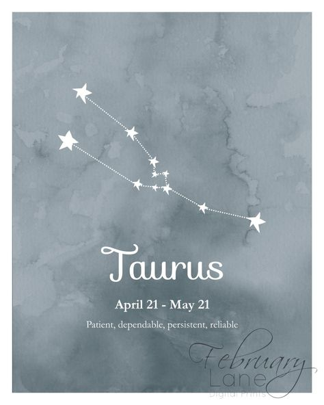 Taurus Zodiac Constellation Wall Art Printable 8x10 - Instant Download, Birthday Horoscope Astrology Stars Watercolor Poster Home Decor Room
