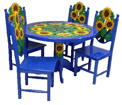 Girasol Table 4 Chairssm Gif 400 344 Carved Furniture Mexican