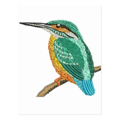 Kingfisher Embroidery Imitation Postcard Postcard Post Card Postcards Unique Diy Cyo Customize Personalize Gifts For Hunters Kingfisher Postcard