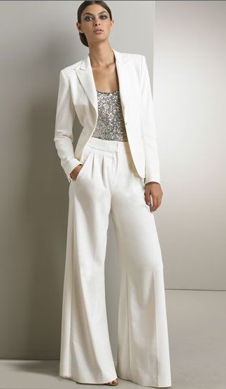 Winter White Pant Suit For Ladies