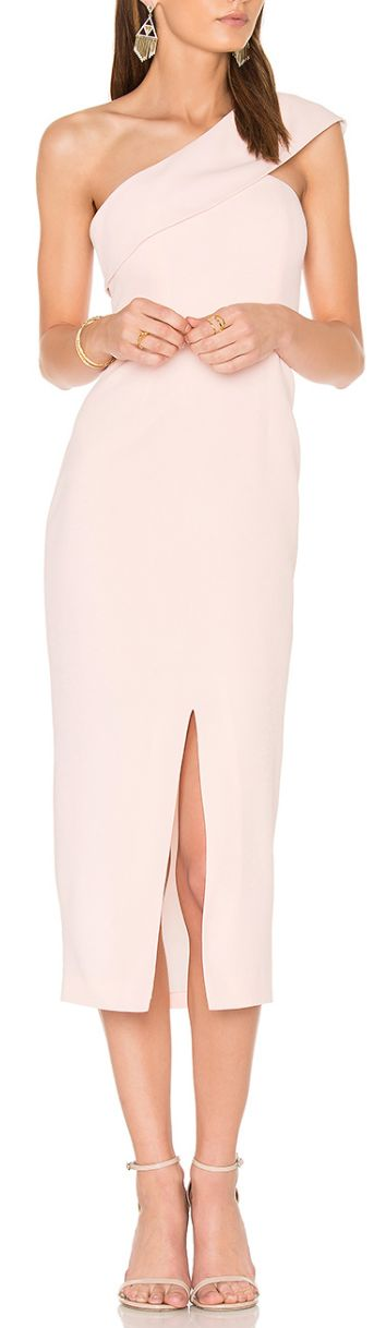Gorgeous one shoulder midi sheath dress