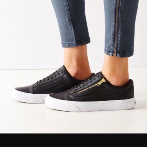 66923b1dff22 Vans Old Skool Zip Black leather with gold zipper Vans Shoes
