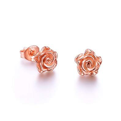 Amazon Com Alphm S925 Sterling Silver Rose Flower Clip Stud Lotus Earrings For Women Tee Flower Earrings Studs Flower Earrings Sterling Silver Flower Earrings