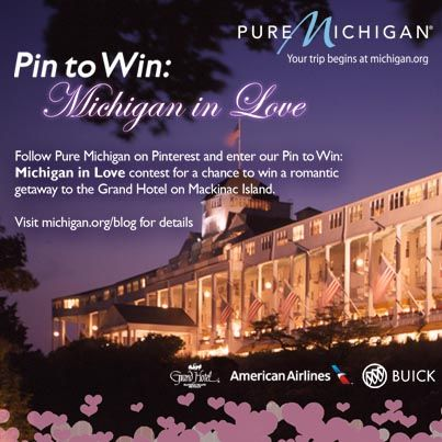 """Enter our """"Pin To Win: Michigan in Love"""" contest by February 28 for the chance to win a #puremichigan Romantic Getaway"""