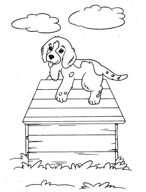 Puppy Dog Climb Up A Dog House Coloring Page Color Luna