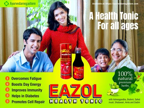 Purchase Eazol Health Tonic 100 Natural Premium Herbs For People Of All Ages Online From Ayurveda Megastore Ind Ayurveda Health Tonic Ayurvedic Medicine