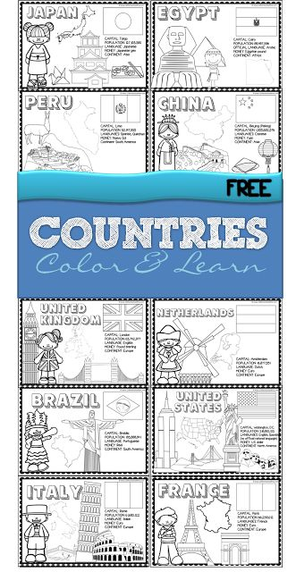 Countries - FREE printable color and learn about 18 countries from all around the world - use as coloring sheets or make a book for preschool, kindergarten, grade, grade, grade Geography For Kids, Teaching Geography, World Geography, Teaching Kids, Geography Activities, 2nd Grade Geography, Geography Quotes, Continents Activities, Toddler Learning