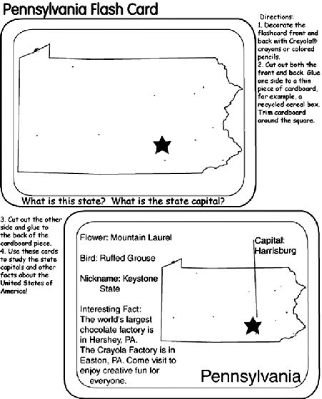Us State Flash Cards Pennsylvania Coloring Page U S States