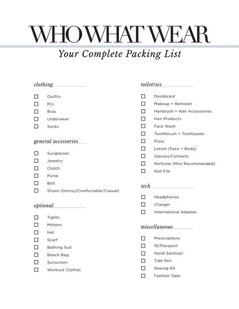 The Only Packing Checklist YouLl Ever Need  Packing Checklist