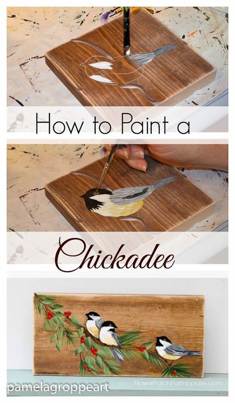 Learn how to paint a Chickadee in Acrylics one easy stroke at a time. Beginner friendly and so much fun. Paint chickadees on gifts, greeting cards or include in a larger canvas painting. painting How to Paint a Chickadee in Acrylics - Pamela Groppe Art One Stroke Painting, Painting On Wood, Pallet Painting, Bird Canvas Paintings, Christmas Paintings On Canvas, Acrylic Paint On Wood, Painting Lessons, Art Lessons, Painting Tips
