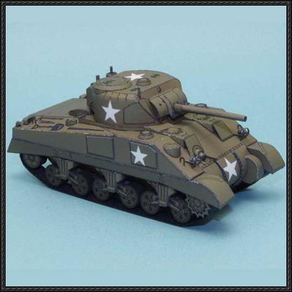 WWII M4 Sherman Tank Paper Model Free Download - http://www ...