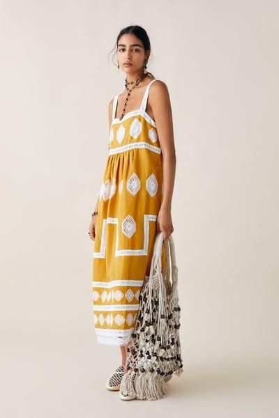 ZARA NEW WRAP LONG EMBROIDERED DRESS SIZE XS UK 6