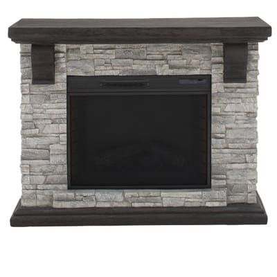 Home Decorators Collection Highland 50 In Faux Stone Mantel Electric Fireplace In Gray 103058 The Home Depot Electric Fireplace Stone Mantel Stone Electric Fireplace