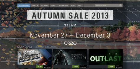 Steam's Autumn/Spring Sale from November 27th to December 3rd