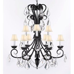 Ophelia Co Lebow 5 Light Candle Style Classic Traditional Chandelier Crystal Chandelier Lighting Iron Chandeliers Farmhouse Chandelier Lighting