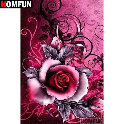 5D Diamond Painting Pink and Black Rose Kit Offered by Bonanza Marketplace. www.BonanzaMarketplace.com #diamondpainting #5ddiamondpainting #paintwithdiamonds #disneydiamondpainting #dazzlingdiamondpainting #paintingwithdiamonds #Londonislovinit #pinkblack #rose