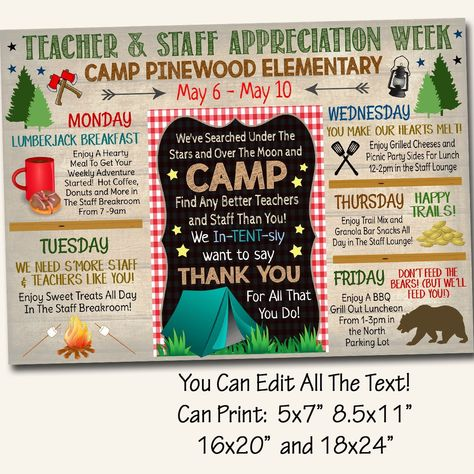Camp Themed Teacher Appreciation Week Itinerary Poster, Outdoor Wilderness Appreciation Schedule Events,  Printable