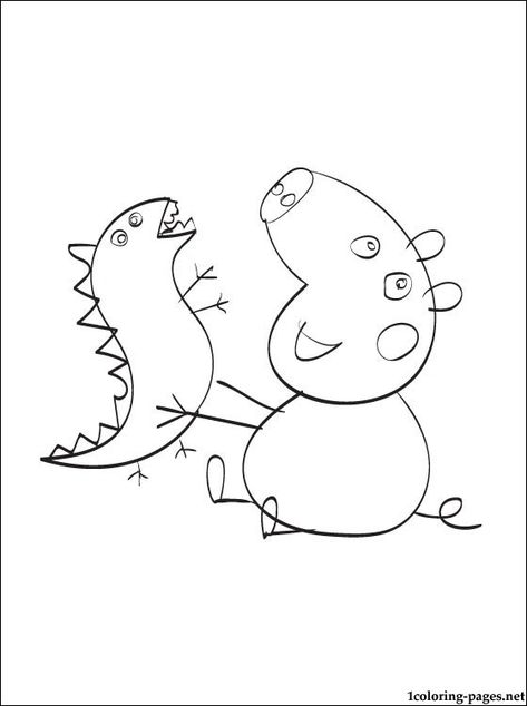 George Pig And His Toy Dinosaur Dinosaur Coloring Pages Peppa Pig George George Pig