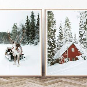 Winter Gallery Wall Decor Nordic Christmas Wall Art Set Of 6 Prints With Moose In The Forest Cabins And Reindeer Snowy Scene Digital Photo Christmas Wall Art Wall Art Prints Prints