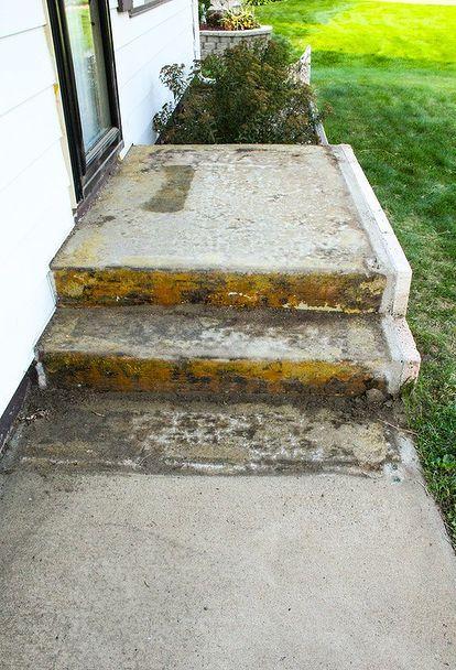 Concrete Patio Makeover Porch, How To Glue Outdoor Carpet Concrete Steps