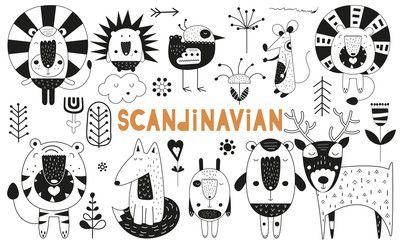 Monochrome Scandinavian Animals Set Hand Drawn Doodle Cartoon Characters For Nursery Poster Cards T Shirts Vector Il Doodle Cartoon Nursery Poster Doodles