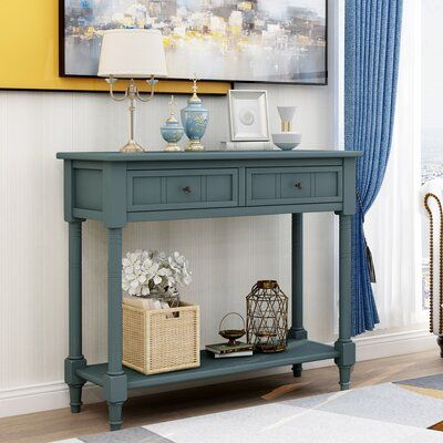 Breakwater Bay Almyra 35 43 Solid Wood Console Table Color Navy Wood Console Table Sofa Table With Drawers Console Table