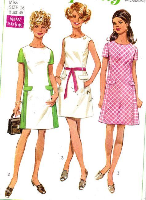 1960\'s Misses Mod A-Line Mini Dress Simplicity Vintage Sewing ...