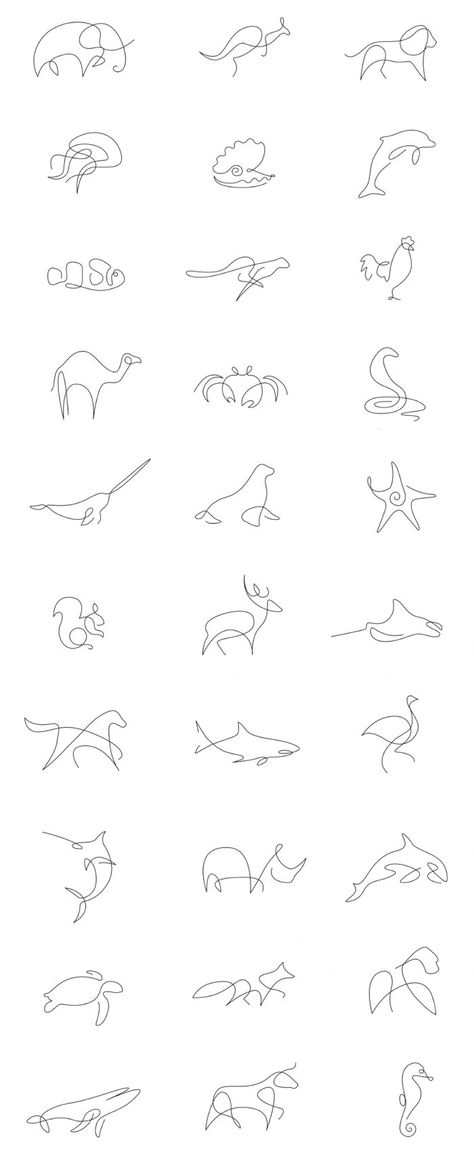 Set of animal logos / icons made in one line Tattoos quotes Tattoos fonts Tattoos sleeve neck Tattoo Trendy Tattoos, Cute Tattoos, Body Art Tattoos, Girl Tattoos, Easy Tattoos, Little Tattoos, Petite Tattoos, Random Tattoos, Nature Tattoos