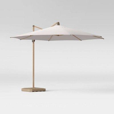 11 offset patio umbrella linen light