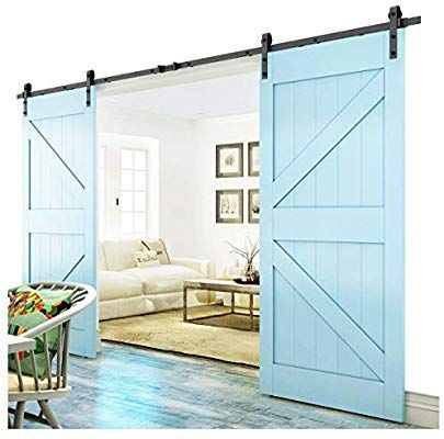 Amazon Com Diyhd 10ft Bent Straight Rustic Black Double Sliding Barn Door Hardware 10ft Track Double Sliding Barn Doors Sliding Barn Door Hardware Barn Door