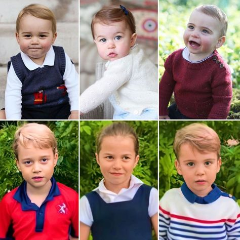"""Catherine Duchess of Cambridge's Instagram post: """"William and Catherine's babies 🥰 Oh how much they've grown! #princegeorge #princesscharlotte #princelouis"""" George Of Cambridge, Duchess Of Cambridge, Duchess Kate, Duke And Duchess, Prince George Alexander Louis, Prince Georges, Prince William And Kate, William Kate, English Royal Family"""