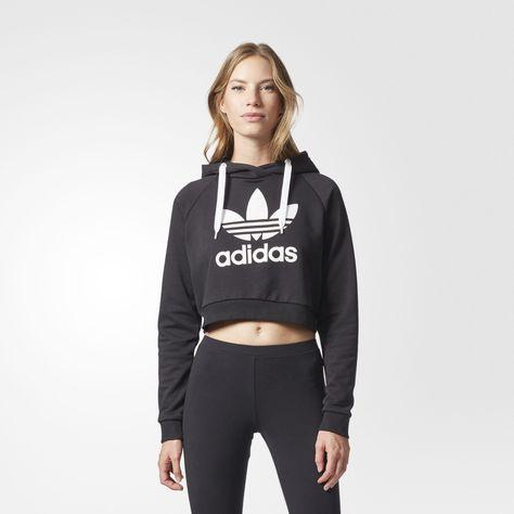 adidas Sweat-shirt à capuche Trefoil Crop - noir maintenant disponible sur  adidas.fr ! Découvre tous les styles et toutes les couleurs sur la boutique  en ... 43053ded5adb