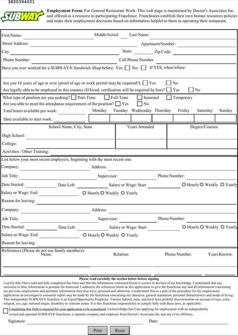 Printable+Subway+Job+Application+Form 222 Pinterest - blank employment application