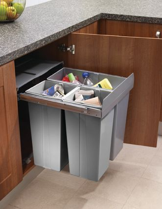 Pull Out Waste Bin For 600mm Cabinet Base Mounted Kitchencabinets600mm Kitchen Waste Bin Recycling Bins Kitchen Pull Out Kitchen Cabinet