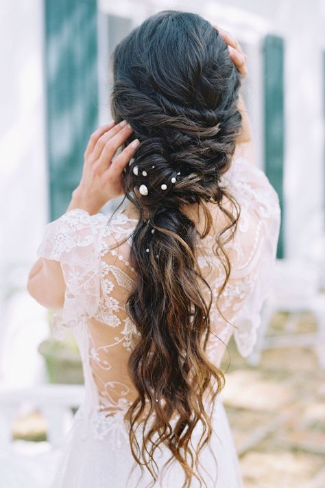 From the editorial Sunset on the Seine by Claude Monet Inspired This Spring Wedding Editorial's Color Palette. If this isn't bridal hair goals, we don't know what is!  Photography: @lisasilvaphotography Hair: @erinstonerstylist  #bridehair #weddinghair #bridalbeauty #weddinghairstyle