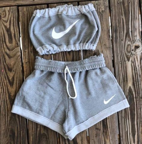 shorts,nike,crop tops,grey,set,tube top,jumpsuit,top,white,two-piece,athletic,nike shorts,bandeau,pants,grey shorts,shirt,grey nike,outfit,sleeveless crop top,tank top