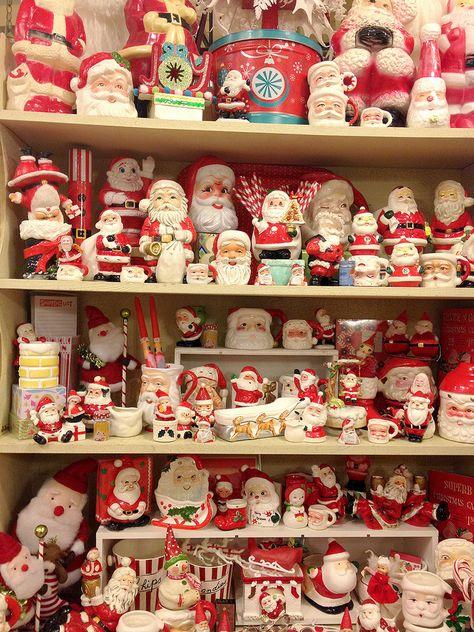 - - Vintage Santa's collection - Vintage Christmas collectible Santa's - What an Excellent collection! Old Time Christmas, Old Fashioned Christmas, Noel Christmas, Winter Christmas, Christmas Crafts, Christmas Mantles, Christmas Christmas, Xmas, Father Christmas