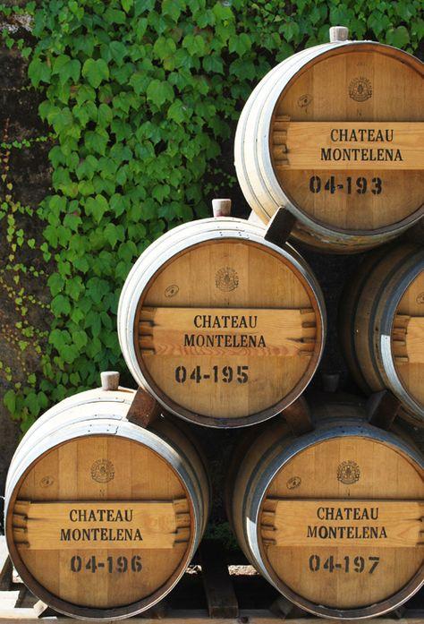 Wine Barrels at historic Chateau Montelena Calistoga, Napa Valley, California