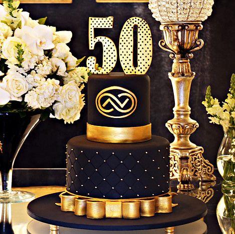 Bolo Preto E Dourado Aniversario 50 Anos Birthday Men De Simone