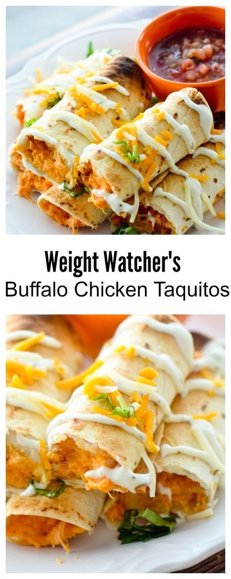 Baked Buffalo Chicken Taquitos for Weight Watcher's - 3 points - Recipe Diaries