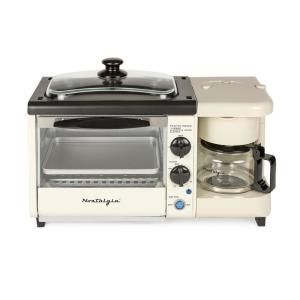 Nostalgia Breakfast Station 1450 W 2 Slice Bisque Toaster Oven