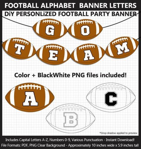 Football Alphabet Banner Clip Art - Letters, Numbers, Punctuation, Superbowl Party, Football Birthday Party Sign, Iron-On, Cricut, Printable  #alphabet #Art #banner #Birthday #Clip #Cricut #football #IronOn #letters #numbers #Party #printable #punctuation #Sign #superbowl