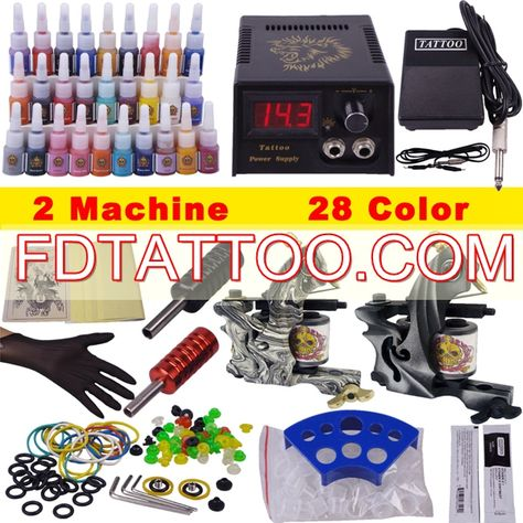 Tattoo Power Supply 28 Colors Inks Grips Fancy Tattoo Kit With 2 ...