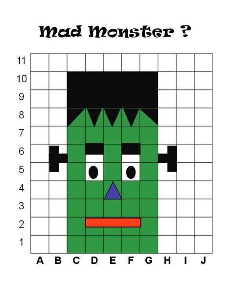 Dessin De Monstre Avec Carreaux Mathématiques école à La