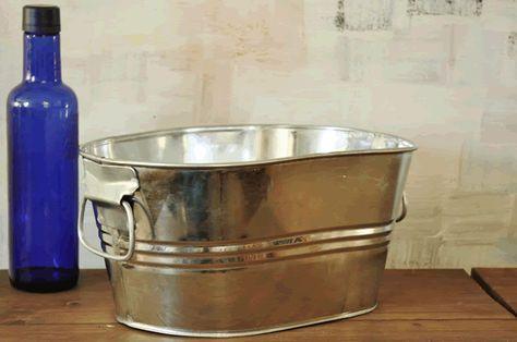 1 Gallon Galvanized Oval Tub Beverage Tub Wash Tubs Metal Wash Tub