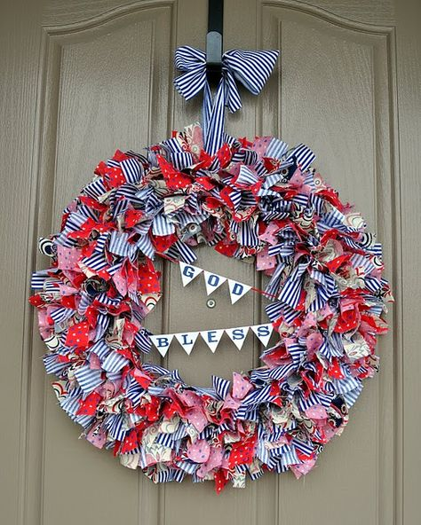 Rag wreath on wire form