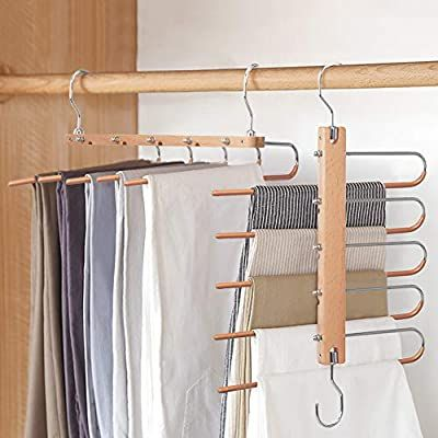 Amazon Com Billkaq Magic Pants Hangers Space Saving Closet Hangers 5 Layers 2 Uses Multi Functional Pants Rack Solid Me In 2020 Trouser Hangers Hanger Best Hangers