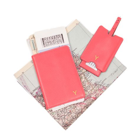 9e07c6d8cf7 Cathy s Concepts Pink Leather Passport Holder   Luggage Tag Set ...