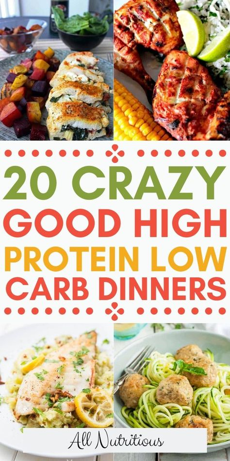 20 High Protein Low Carb Dinner Ideas - - Try these high protein low carb meals and enjoy eating a low carb diet a little bit more. These high protein dinners are also low carb dishes thus great for both diets, check out these healthy recipes. High Protein Snacks, High Protein Dinner, High Protein Low Carb, High Carb Diet, Low Calorie Diet, Protein Foods, Healthy Low Carb Recipes, Low Carb Dinner Recipes, Healthy Protein Dinner Recipes