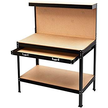 Finether Multi Purpose Heavy Duty Steel Workbench Tool Table Work Table With 3 Shelves Pegboard 10 Pegs Amp Large Draw Steel Workbench Tool Table Home Workshop